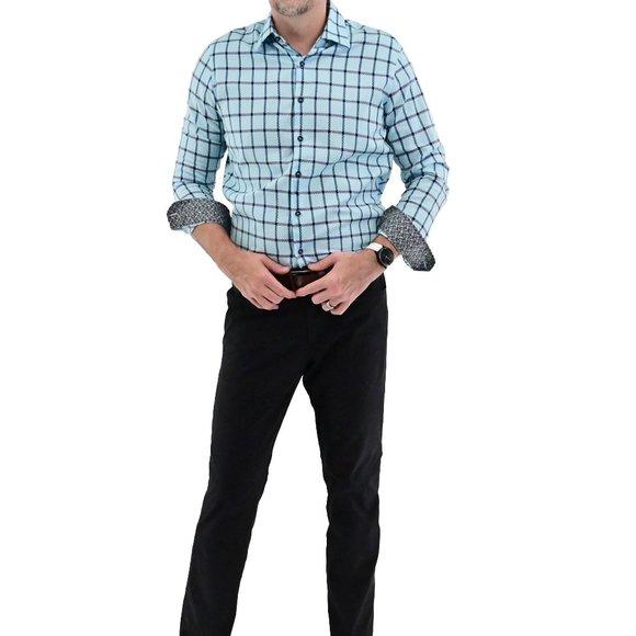 TASSO ELBA Men's Cotton Geo Plaid Collared Shirt